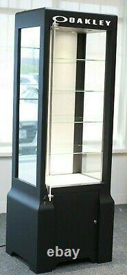Pre-owned Metal/Glass Black Oakley Eyeglasses Display Case/Stand with keys