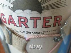 RARE 1901 Antique GARTER Store Display THE SUN Advertising Sign Curved Glass