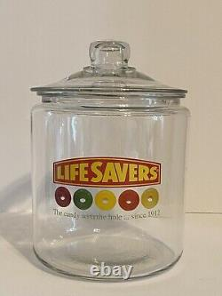 RARE Antique Vintage LIFESAVERS Candy Store Display Glass Jar withGlass Lid, NICE