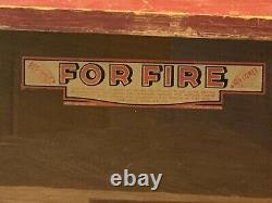 Rare 1930s Red Comet Fire Extinguisher Store Display Case Wood Glass