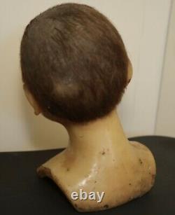 Rare Victorian Antique Boy Wax Mannequin Head W Glass & Real Hair