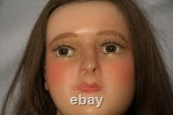 Rare Victorian Antique French Wax Mannequin Head W Glass Eyes Lifesize Doll Bust