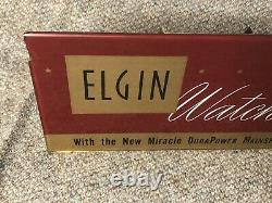 Rare Vintage Elgin Watches Glass Store Display Advertising Watch Sign Burgundy