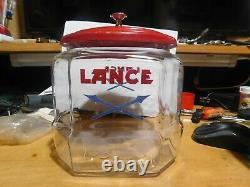 Rare Vintage advertising Lance Glass Cracker Jar General Store Display 7Red Lid