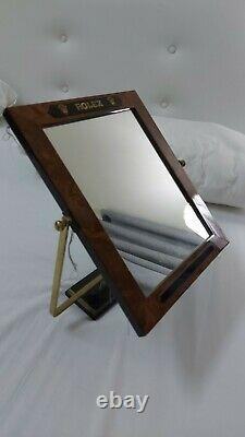 Rolex brown wooden frame, Glass Adjustable Mirror Store Display 9x11 very rare