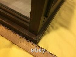 Store Counter Top Wooden Display Case With Side & Back Glass & One Glass Shelf