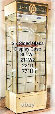 TOWER DISPLAY CASE Hexagon Glass Lighted