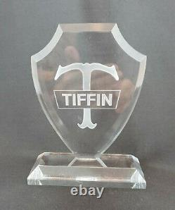 Tiffin Glass Co. Store Shelf Display Sign Clear Lucite