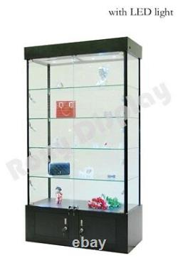 Tower Rectangular Black Display Showcase Store Fixture Assembled WithLights#WL40BK