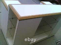 USED Store Fixture Nice Mobile CUSTOMER SERVICE DESK with Display Glass Shelves