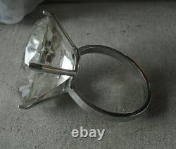 Unique Large Cut Glass Store Showcase Display Diamond Ring 3 1/4 Wide LOOK