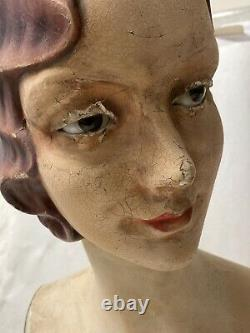 VINTAGE ANTIQUE LIFESIZE STORE DISPLAY DECO FEMALE MANNEQUIN BUST with GLASS EYES