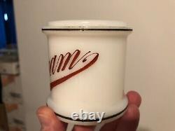 VINTAGE MINTY c. 1930 MILK GLASS BARBERSHOP BACKBAR CREAM JAR WithORIGINAL LID