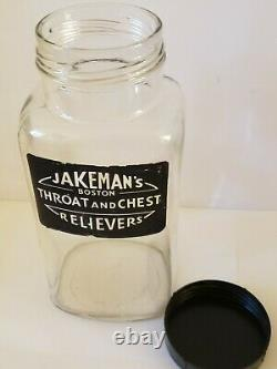 Vintage 1960 JAKEMANS BOSTON'THROAT & CHEST RELIEVERS' Glass Apothecary Jar 12