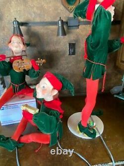 Vintage ANIMATRONIC Dept Store Window CHRISTMAS 3 Lg ELVES DISPLAY Papermache