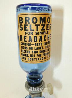 Vintage BROMO-SELTZER Drug Store DISPENSER Pharmacy Blue Glass Base Cup Bottle