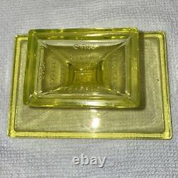 Vintage Clark's Teaberry Gum Uranium Vaseline Glass Footed Stand Store Display