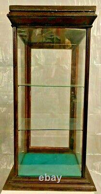 Vintage Countertop General Store Glass Wood Display Case WithBack Door