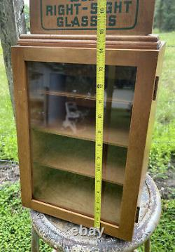Vintage Eyeglasses Display Case Advertisement Wooden Class Right Sight Glasses