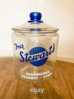 Vintage Fresh Stewarts Glass Peanut Candies Jar With Lid Store Counter Display