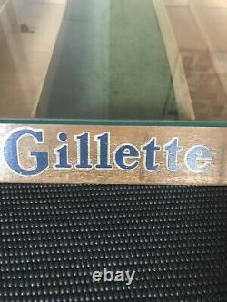 Vintage GILLETTE RAZOR Store Display Case w Glass Top
