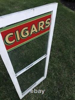 Vintage General Store Painted Glass Cigars Advertising Window Display