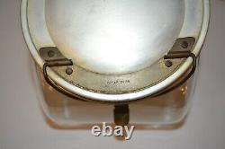 Vintage General Store Tilted Glass Counter Jar Cannister Candy Cookie Hinged Lid
