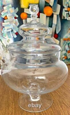Vintage Glass Apothecary Jar HUGE Biscuit Candy Counter Store Display Terrarium