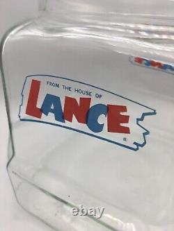 Vintage Lance Cracker Glass Jar 9 withLid General Store Counter Display 8 Sided