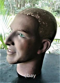 Vintage Male Mannequin Head Display Art Deco Sculpture Original Glass Eyes