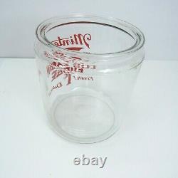 Vintage Minters Log Cabin Fudge 1¢ Glass Country Store Counter Display Jar LID