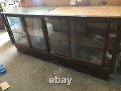 Vintage Oak Wooden Display Candy Old Store Case with Sliding 4 Glass Doors
