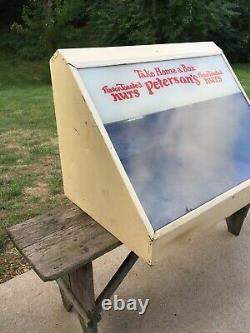 Vintage Petersons Nut Lighted Glass Counter Top Display Case Cabinet 1930's