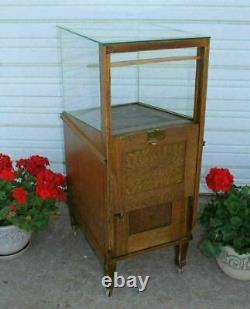 Vintage Sheaffers Glass Fountain Pen & Pencil Oak Store Display Case Cabinet OLD