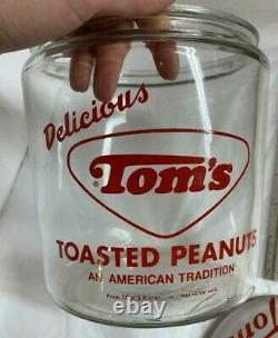 Vintage Tom's Toasted Peanuts Store Display Glass Jar with Metal Lid
