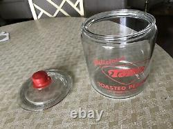 Vintage Toms Toasted Peanuts Glass Jar Clear Lid Handle Store Counter Display
