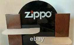 Vintage Zippo Display Store wood glass plastic rare collectibles