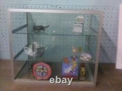 Vtg Glass Tabletop Display Specimen Miniatures Cabinet Showcase Store Model Ship
